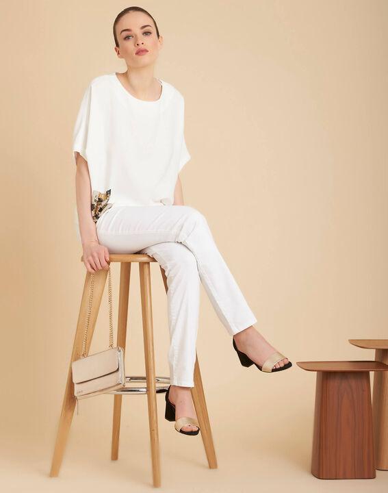 Gwen ecru T-shirt with beaded pockets (2) - 1-2-3