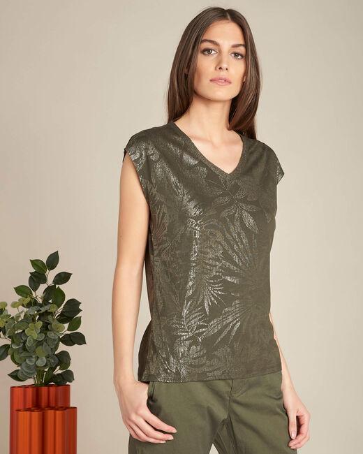 Khakifarbenes T-Shirt mit glänzendem Ausschnitt Enight (2) - 1-2-3