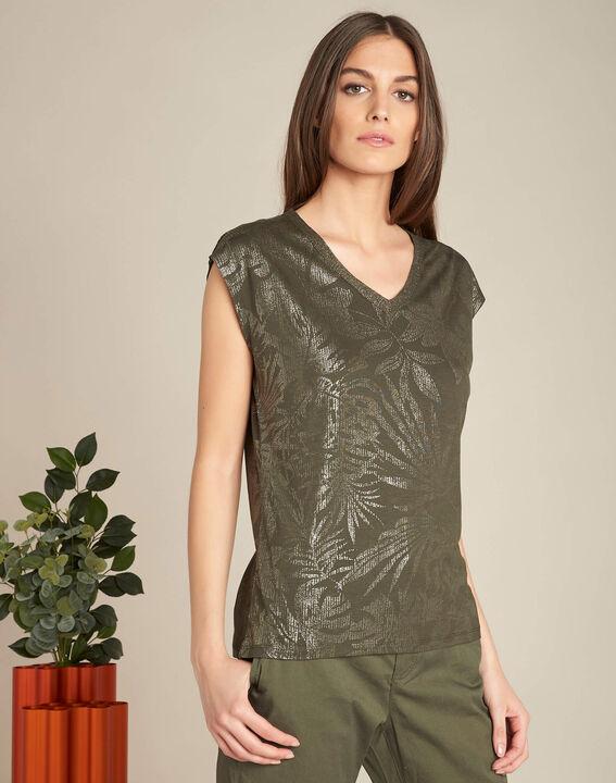 Enight khaki T-shirt with shiny V-neckline (3) - 1-2-3