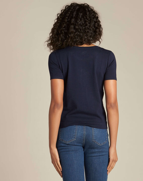 Novella embroidered navy blue sweater with short sleeves (4) - 1-2-3