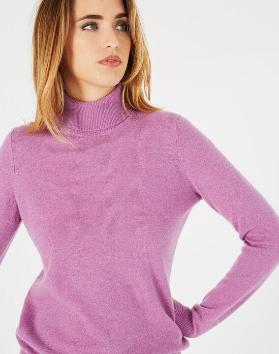 Pull violet col roulé en cachemire Perceneige (2) - 1-2-3