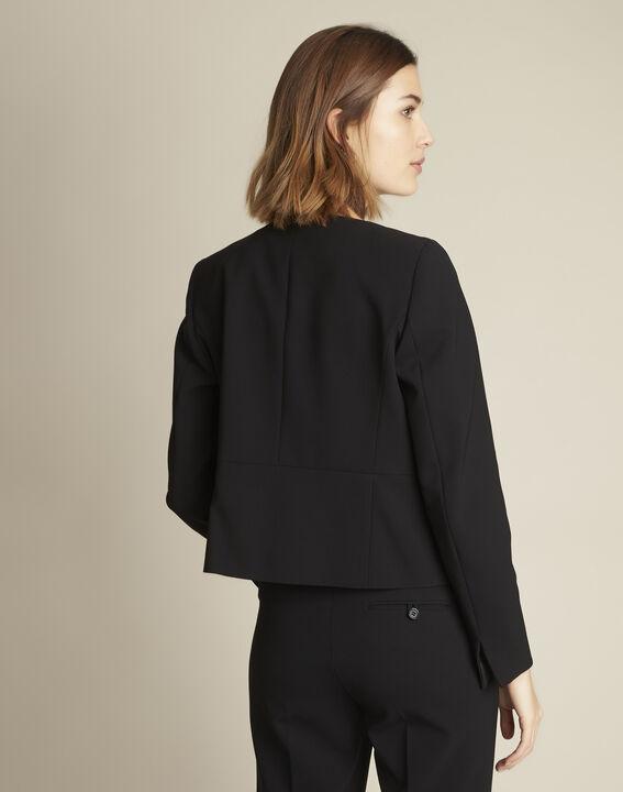 Veste noire poches à rabat microfibre Charme (4) - Maison 123