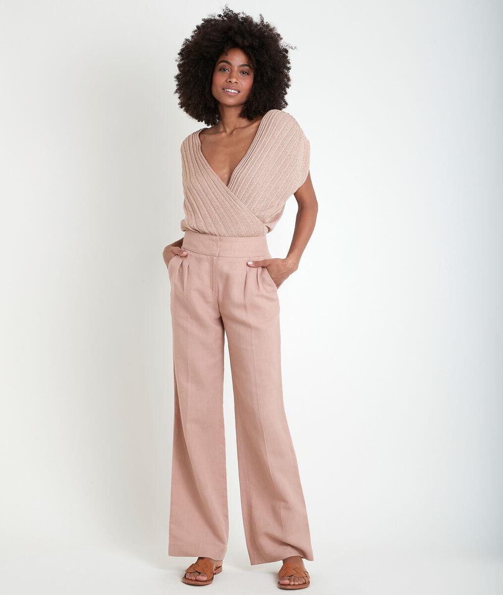 Pantalon large rose en coton et lin Galaxy PhotoZ | 1-2-3