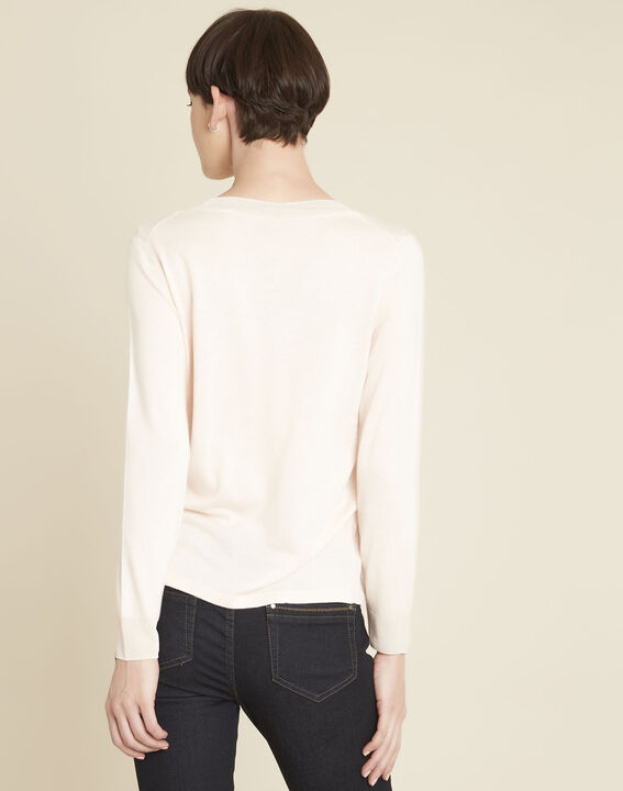Bergamotte nude fine-knit sweater with V-neck (4) - 1-2-3