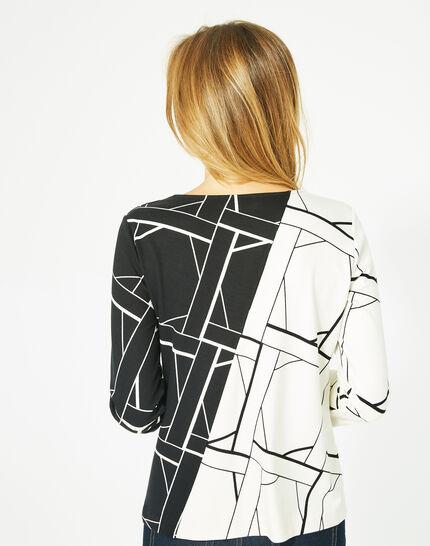 Tee-shirt noir et blanc imprimé Losange Bis (4) - 1-2-3