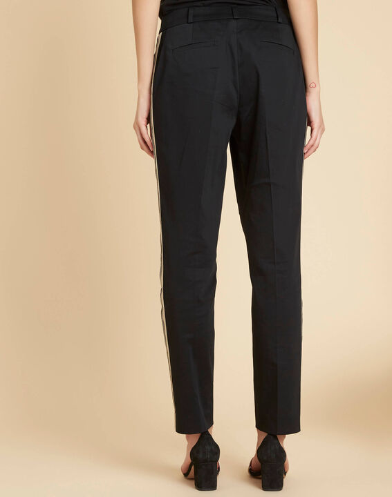Pantalon slim noir à bandes coton 7/8 Francis (4) - 1-2-3