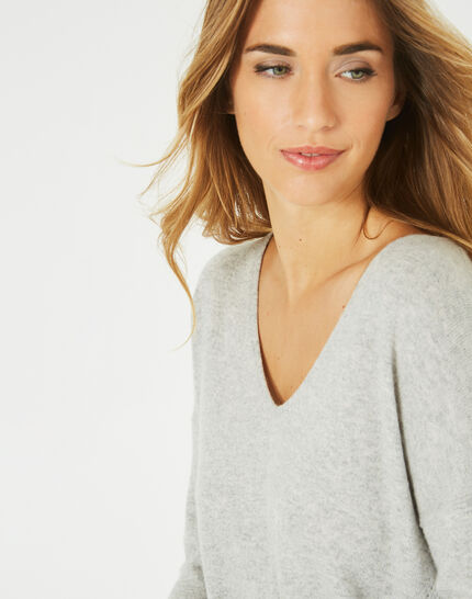 Piment grey cashmere sweater with V-neck (3) - 1-2-3