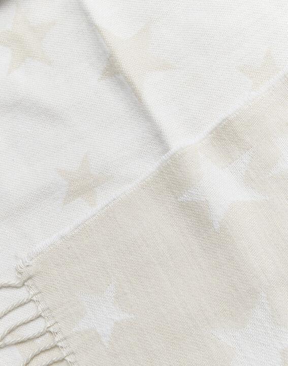 Beige sjaal met sterrenmotief en franjes Frise (2) - 37653
