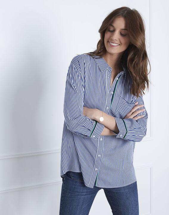 Blauwe blouse met fijne strepen Darwin (2) - Maison 123