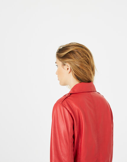 Blouson en cuir rouge Hanna (4) - 1-2-3