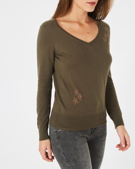 Planète khaki sweater with V-neck and diamante (2) - 1-2-3