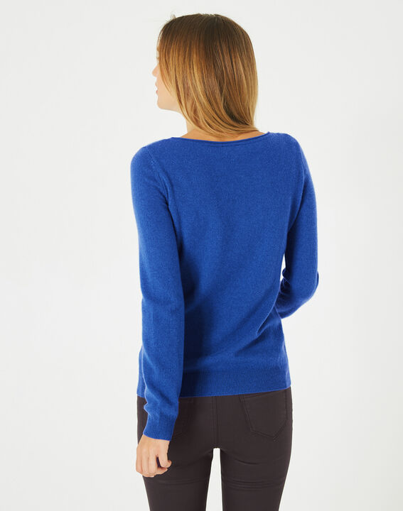 Petunia royal blue, cashmere sweater with round neck (3) - 1-2-3