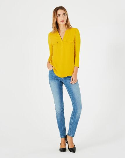 Gelbes T-Shirt im Materialmix Leden (1) - 1-2-3
