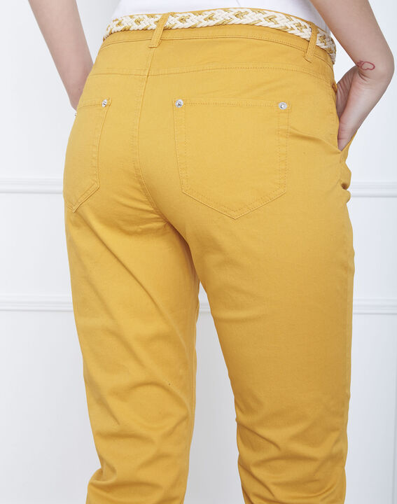 Pantalon jaune chino ceinture fantaisie Francis (4) - Maison 123