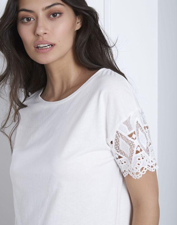 Naturfarbenes Spitzen-T-Shirt mit Ärmeln Podgorica (3) - Maison 123