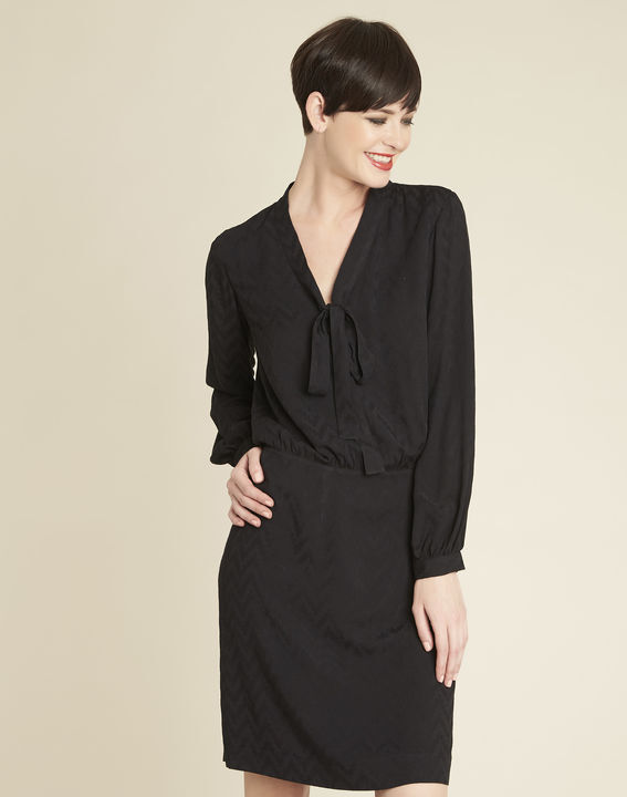 Zwarte jurk met print en strikkraag Dorothy PhotoZ | 1-2-3