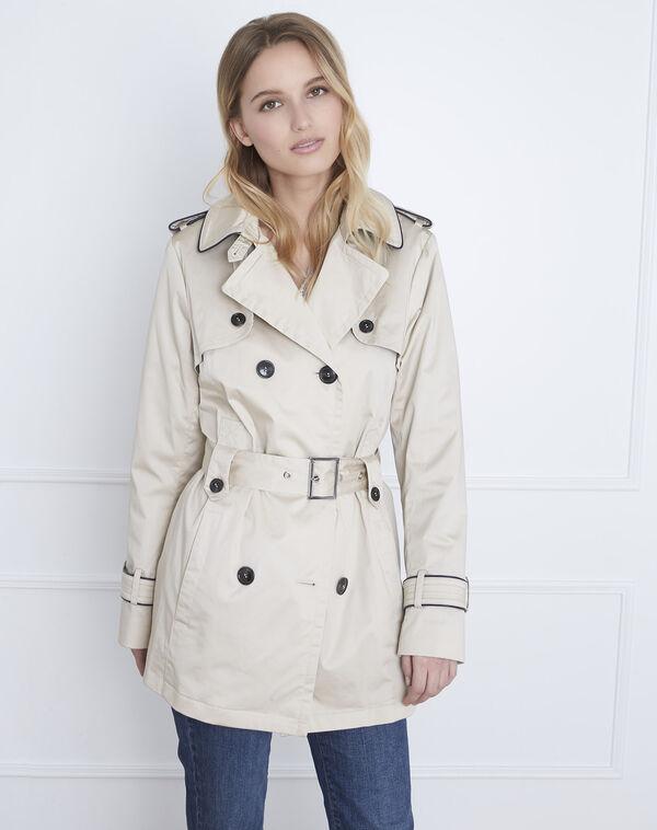 Dorine short beige trench coat with contrasting bias - Maison Cent  Vingt-Trois be44cc9d62