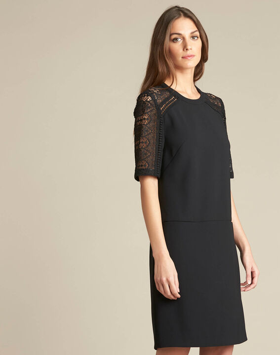 Pastel dual-fabric black lace dress (3) - 1-2-3
