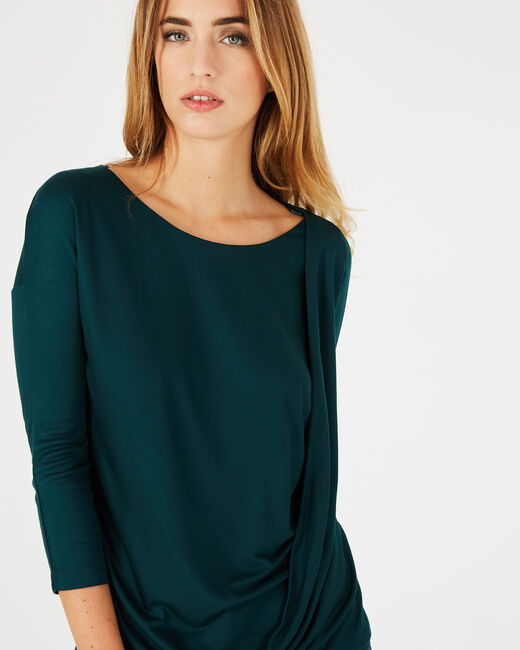 Bree forest green T-shirt with rounded neckline (1) - 1-2-3