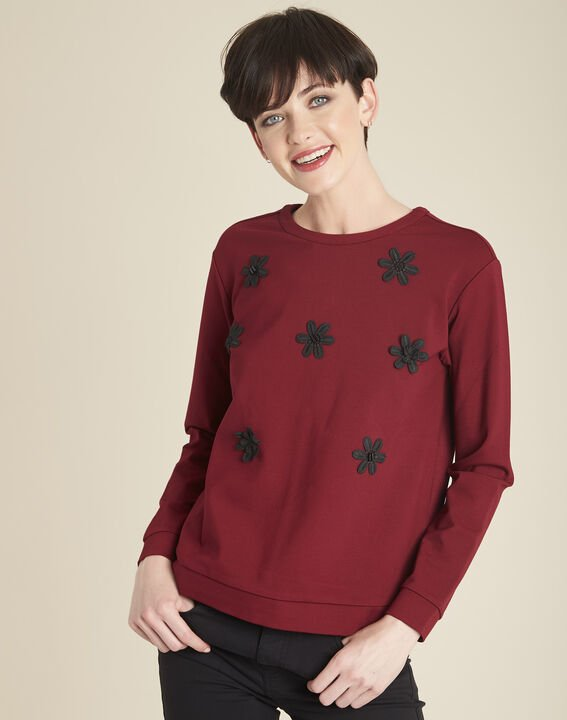 Sweat rouge broderie fleurs Great PhotoZ | 1-2-3