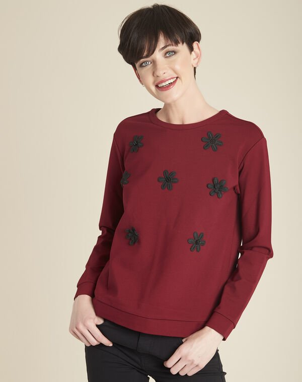Great red sweatshirt with embroidered flowers (1) - 1-2-3