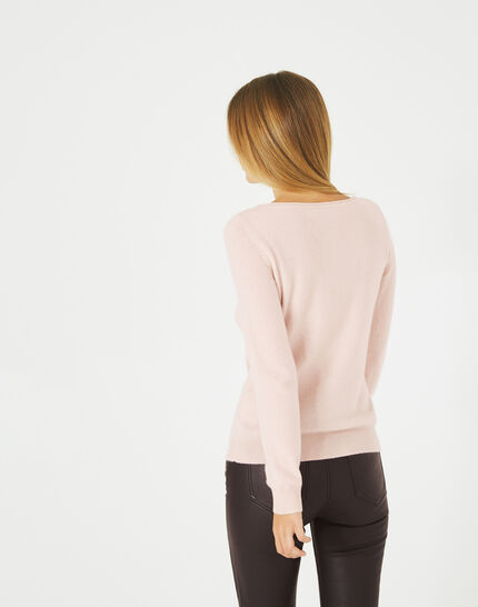 Petunia powder pink, cashmere sweater with round neck (3) - 1-2-3