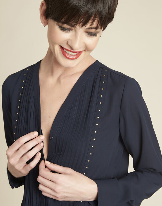 Cameila navy blue blouse with decorative neckline (3) - 1-2-3