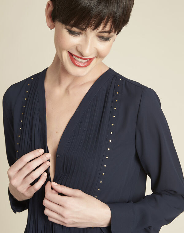 Cameila navy blue blouse with decorative neckline (2) - 1-2-3
