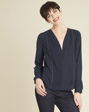 Cameila navy blue blouse with decorative neckline navy.