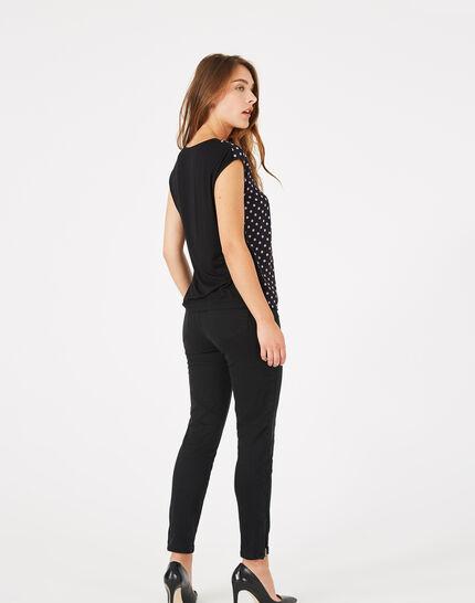 Schwarzes T-Shirt mit Tupfen Betina (5) - 1-2-3