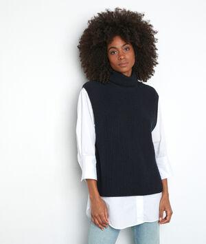 Marineblauwe trui met rolkraag zonder mouwen Twister