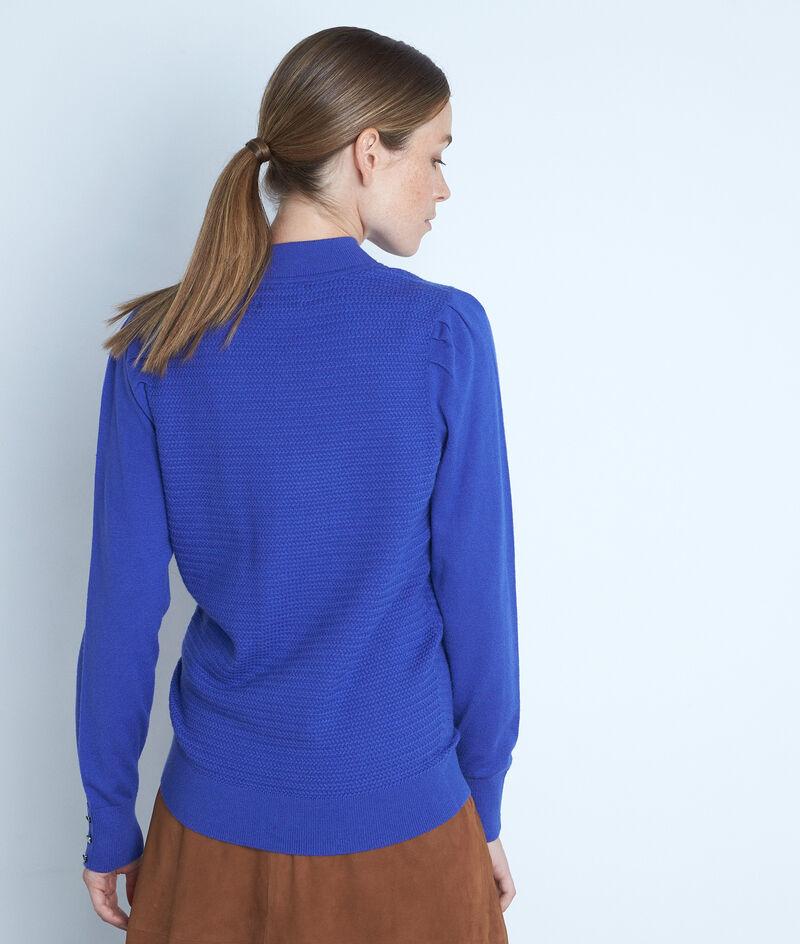 Pull texturé à col montant et épaules froncées bleu Trudy PhotoZ | 1-2-3