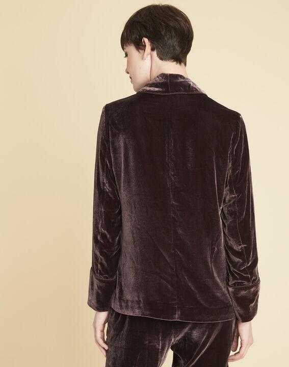 Donkerrood fluwelen jasje met sjaalkraag Sphynx (4) - Maison 123
