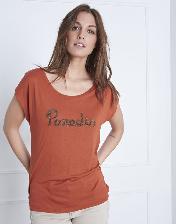 Oranje T-shirt met ronde hals Pippa PhotoZ   1-2-3