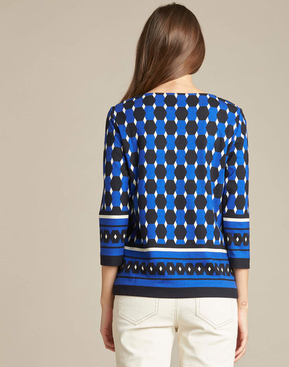 Evita block navy blue blouse with graphic print (4) - 1-2-3