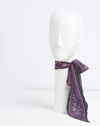 Fiby printed silk tie belt bordeaux.