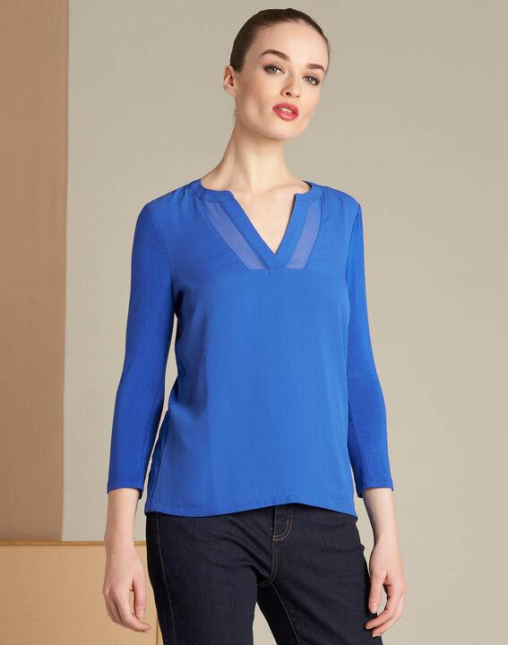 Tee-shirt bleu roi bimatière col résille Bianca (3) - 1-2-3