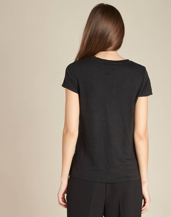 Epearls black T-shirt in linen with embroidered beading (4) - 1-2-3