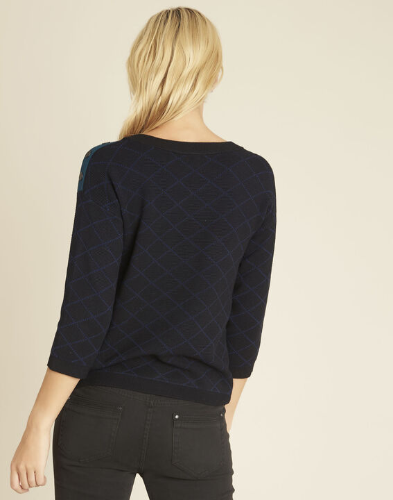 Bridge black check sweater with buttons on the shoulders (4) - 1-2-3