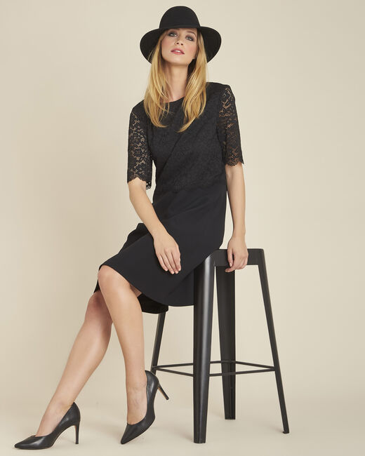 Narling dual-fabric black skate dress with lace top (1) - 1-2-3