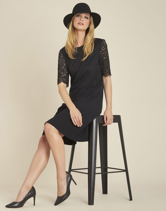 Narling dual-fabric black skate dress with lace top (2) - 1-2-3