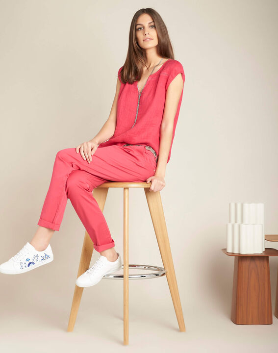 Francis slim-cut belted cotton trousers in fuchsia (2) - 1-2-3