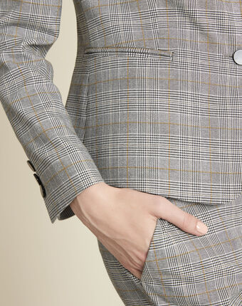Grey jacket with prince of wales design light chine.