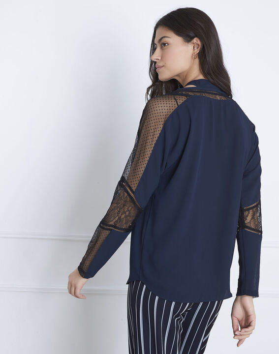 Blouse marine en dentelle cravate Verica (4) - Maison 123