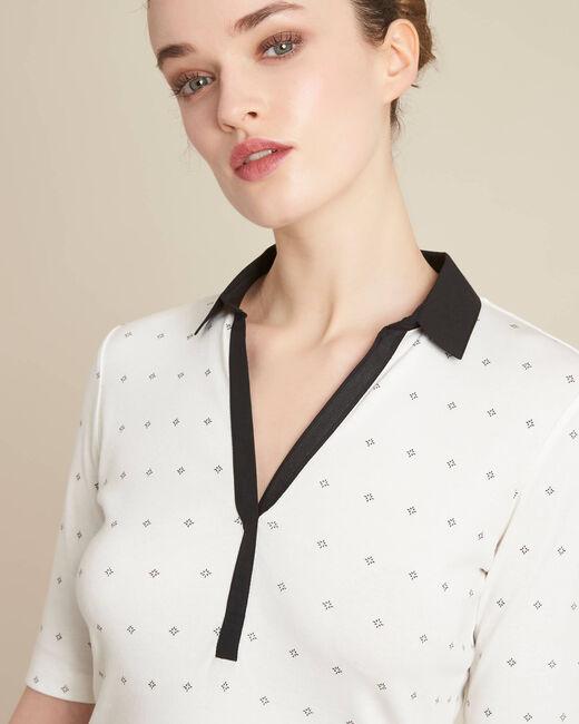 Tee-shirt col chemisier écru imprimé Bowling (1) - 1-2-3