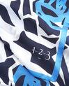 Blaues Seidenhalstuch mit grafischem Blumenprint Angel (1) - 1-2-3