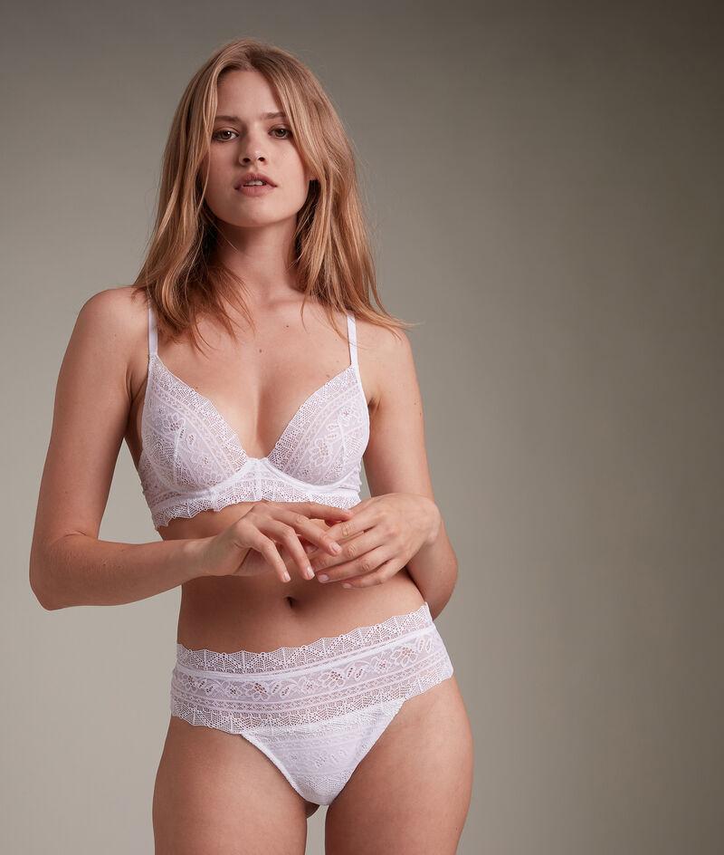 Tanga en dentelle de coton responsable blanche Ella PhotoZ | 1-2-3