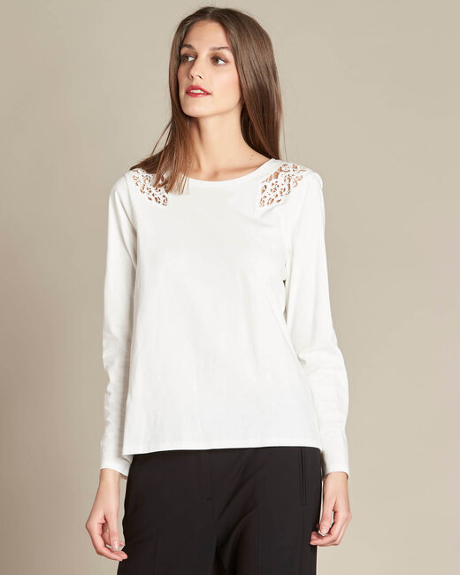 Ecrin ecru T-shirt with lace yoke (2) - 1-2-3
