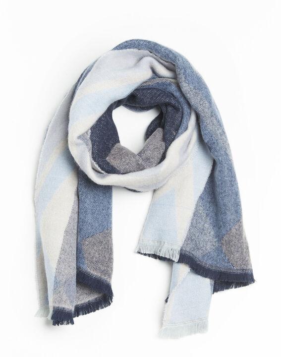 Donkerblauwe sjaal met motiefjes Fabien PhotoZ | 1-2-3