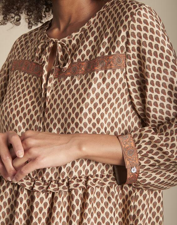 Robe acajou en soie mélangée imprimée Iroxy PhotoZ | 1-2-3